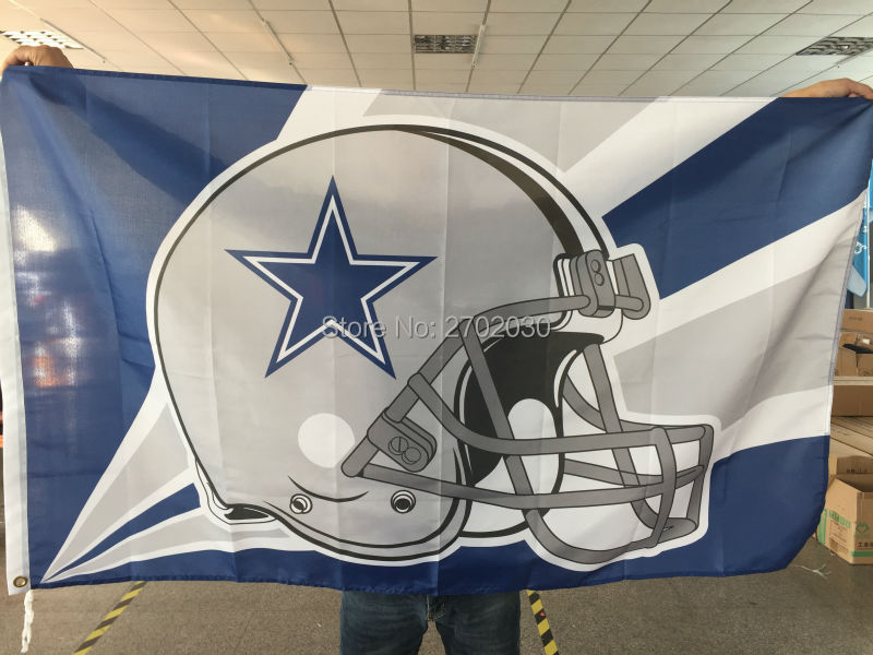 Dallas Cowboys Helmet Flag blue star Helmet Premium Team Polyester 3ft X 5ft Football Banner Jersey Dallas Cowboys Flag(China (Mainland))