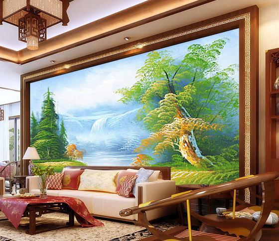 Free shopping 2014 New Non-woven Oil painting spring scenery paintings TV setting wall template design wallpaper(China (Mainland))