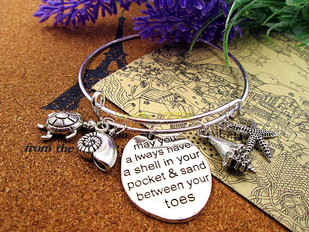 Hot sale bracelets bangles with starfish conch,turtle may you have a shell in your pocket & sand between your toes(China (Mainland))