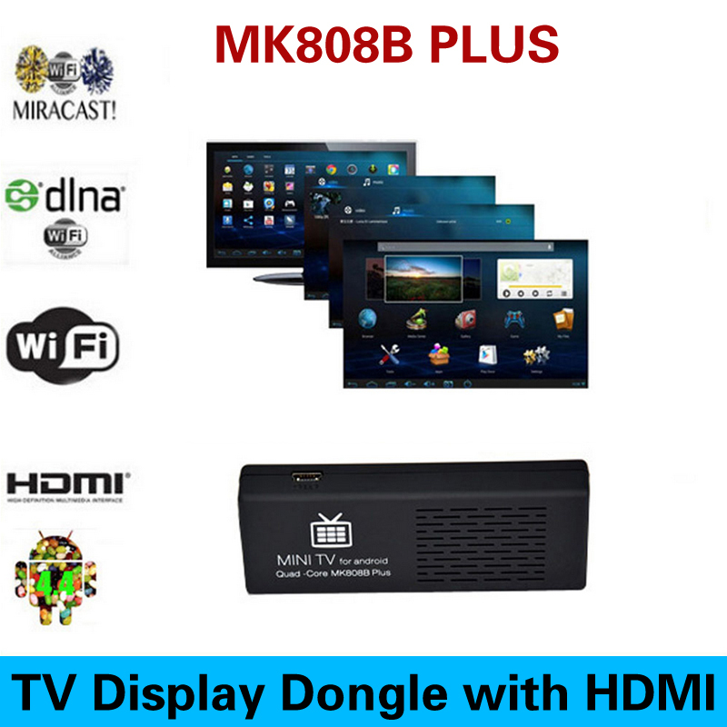 New MK808 MK808B Plus Amlogic M805 Quad Core Android 4.4 Mini PC Smart Google TV Stick Dongle 1GB 8GB WIFI H.265 DLNA Miracast(China (Mainland))