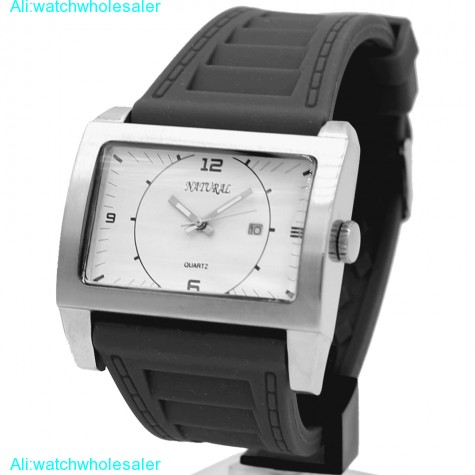 2115 Quartz JAPAN movement Elegant Water Resistant New Silicone Black Band Men Women with Date Fashion Watch FW606P(China (Mainland))