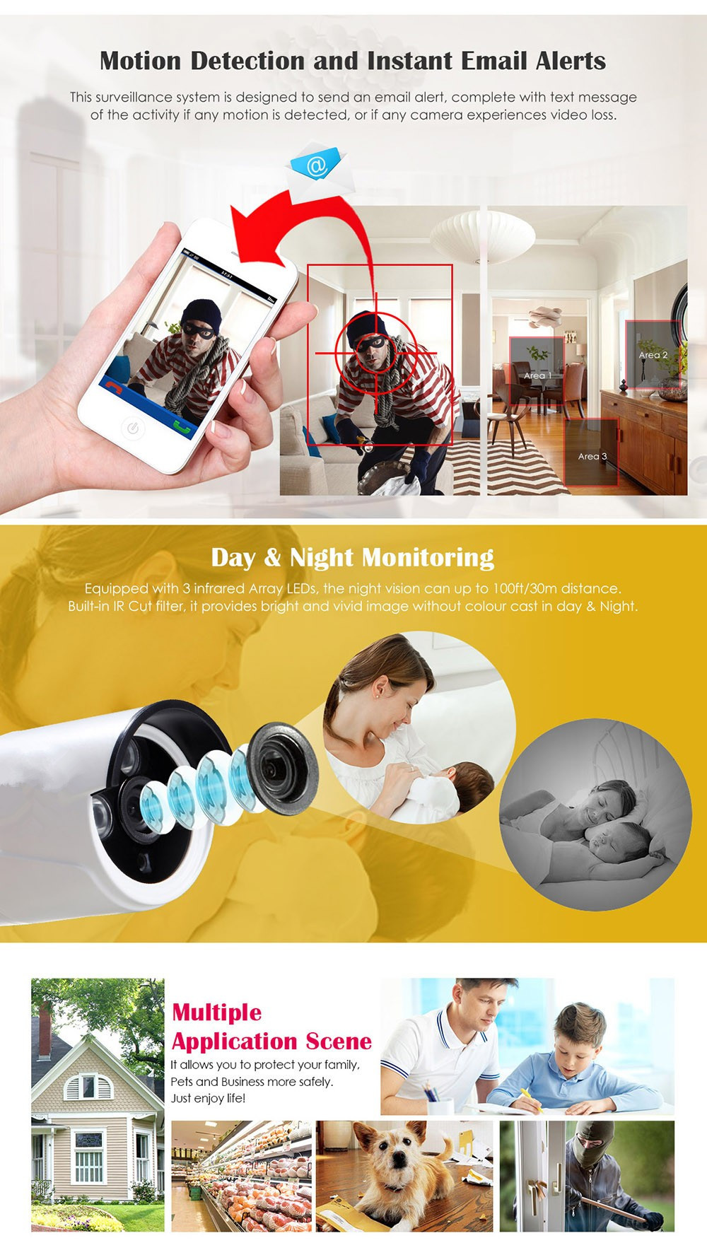 8CH HD WI-FI NVR Security Wireless Network 720P 1MP Night Vision IP Surveillance Camera Security System Smartphone Scan QR Code