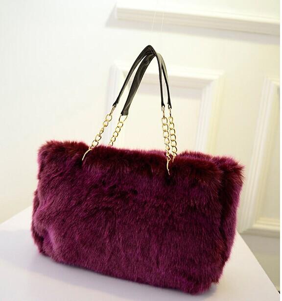 2014 new fashion purple faux fur bag women handbags Imitation Fur bag fake fur shoulder bags hgiht quality(China (Mainland))