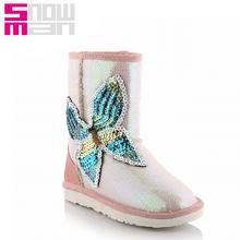 Cuero genuino brillo brillo botas de nieve Color de la muestra de mariposa de la nieve zapatos 2015 calientes del invierno talón plano antideslizante zapatos de invierno(China (Mainland))