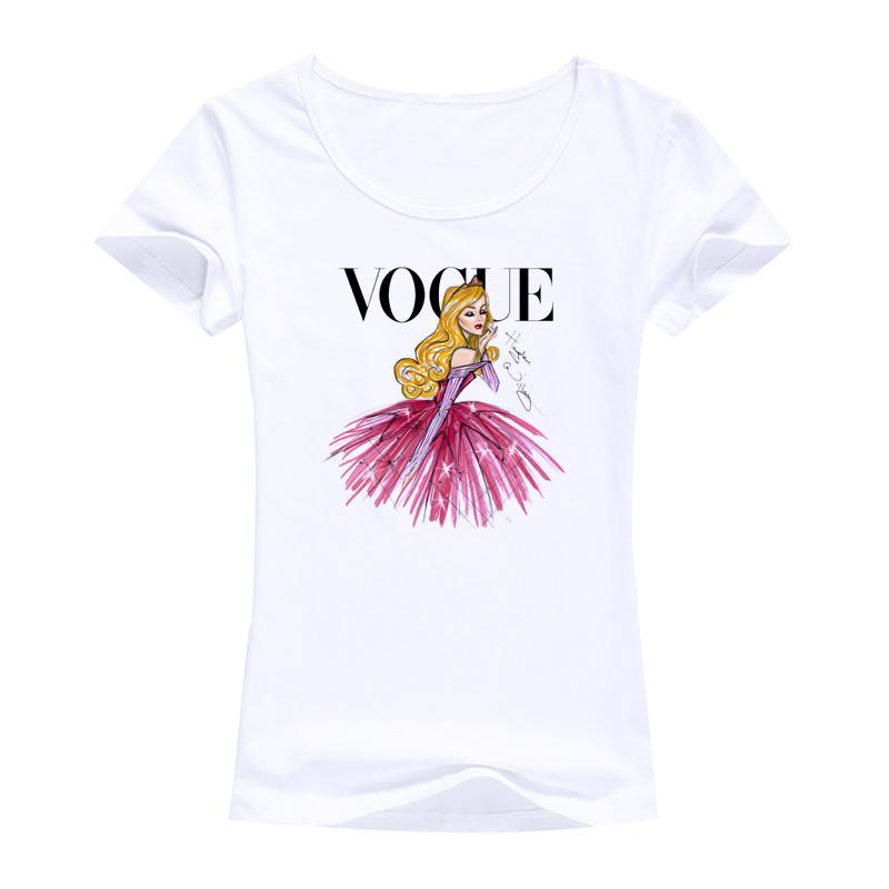 vogue model design style woman tops tees women T shirt Tattoo princess clothes fashion brand Short sleeves cotton female t-shirt(China (Mainland))