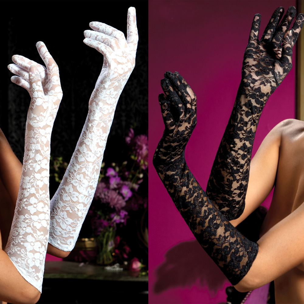 Sexy long gloves women black red white floral print lace gloves mittens lace gloves 9051(China (Mainland))