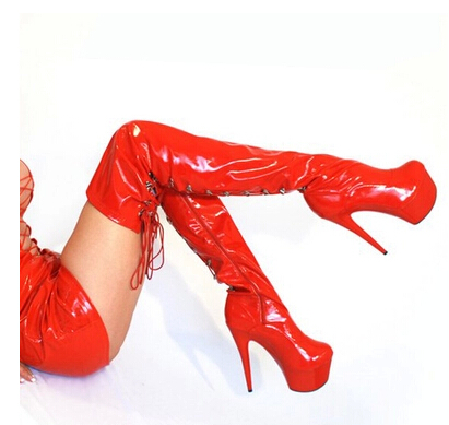 Newest Lady Gaga Sexy Long japanned leather Boots 15cm Super high heel boots over knee boots sexy dance boots <br><br>Aliexpress