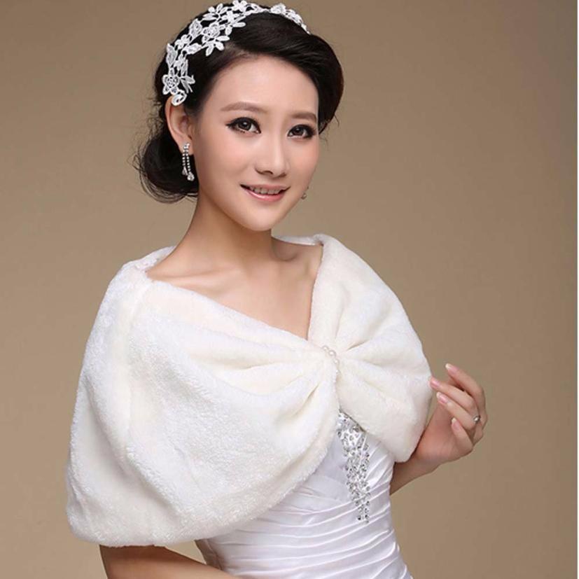 Elegant Lady Faux Fur Shawl Women Scarves Fashion 2017 Winter Ivory Plush Shrug Cape Shawls Pashmina Women Little Shawl Scarf #Z
