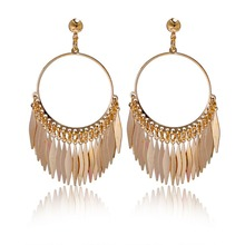 New Fashion Vintage Enthusiasm Style18K Gold Plated  Feather Pendant Classical Drop Earrings For Women Christmas Gifts XY-E71(China (Mainland))