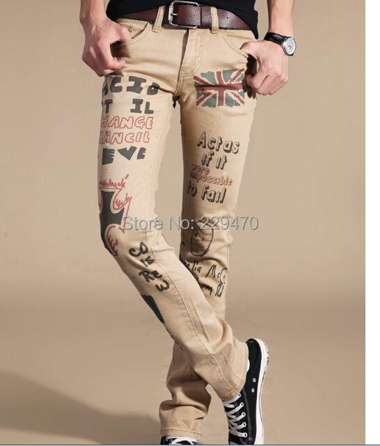 мужчин джинсы Корейский случайные желтый длинные