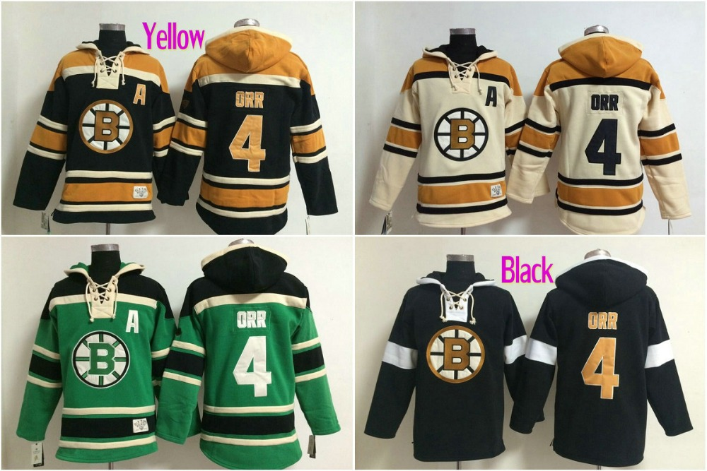 Mens Boston Bruins Hockey Hoodies 4 Bobby ORR ICE Long Sleeve Warm Boston Bruins Hooded Sweatshirt Embroidery Name 112201(China (Mainland))