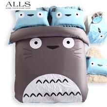 100% cotton totoro bedding set cartoon cute big face bed linen cat duvet cover pillowcase flat sheet  queen size king christmas(China (Mainland))