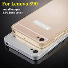 Hot Coque For Lenovo S90 Case Acrylic Back Cover & Aluminum Metal Frame Set Phone Bag Cases Housing For S90 S90T