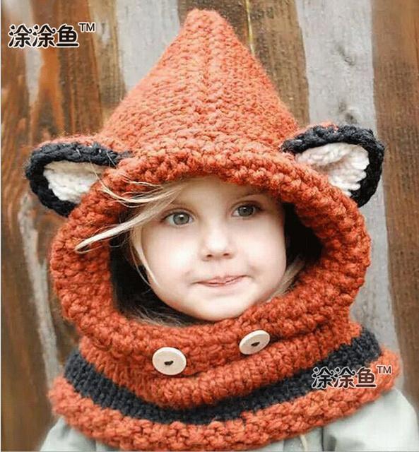 2015 осень зима фокс животных детские шапки шапки детей девушки парни теплые шерстяные вязаные капюшон капюшон шарф шапки шляпы прямая поставка