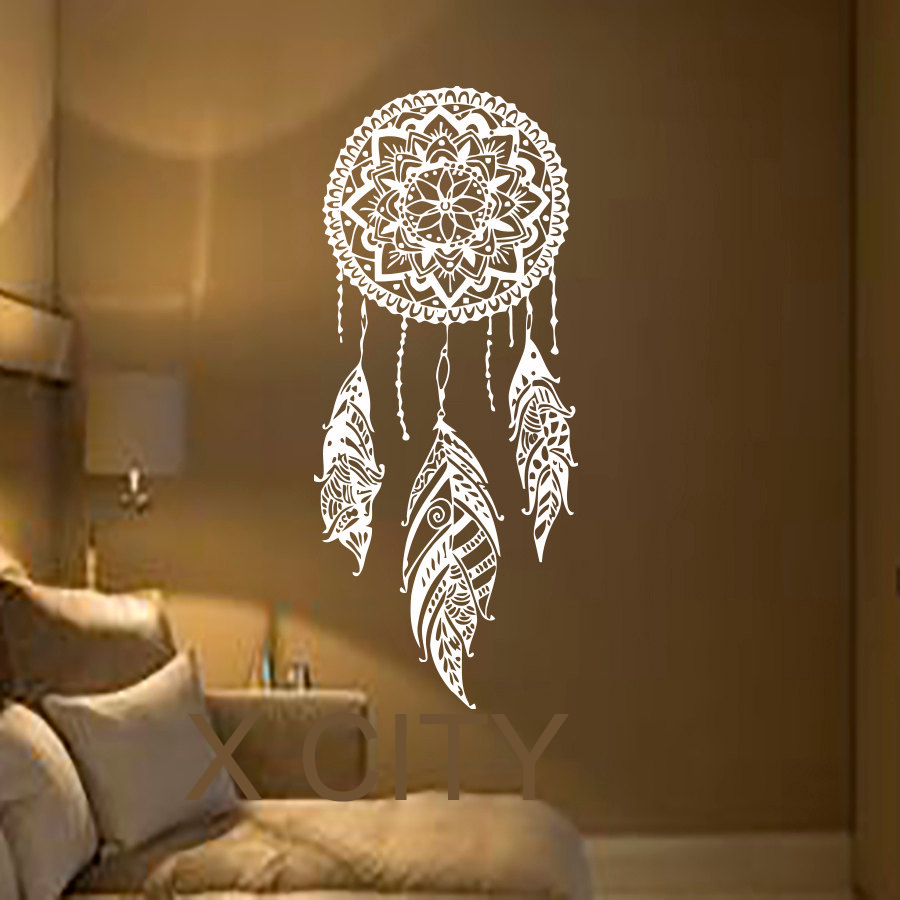 dream catcher art feather vinyl sticker boho dreamcatcher wall decals for bedroom nursery. Black Bedroom Furniture Sets. Home Design Ideas