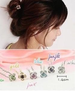 """Limited buy"" four-leaf flower jewelry wholesale fashion personality joker simple little lady Fangzuan Bob Free shipping(China (Mainland))"