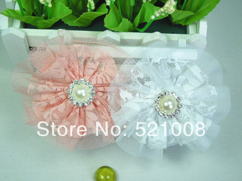 "4"" Vintage Lace Flower for Headband Baby Girls Hair Fabric Flower Apparel Accessories Newborn Infant Photo Prop 30pcs Free"