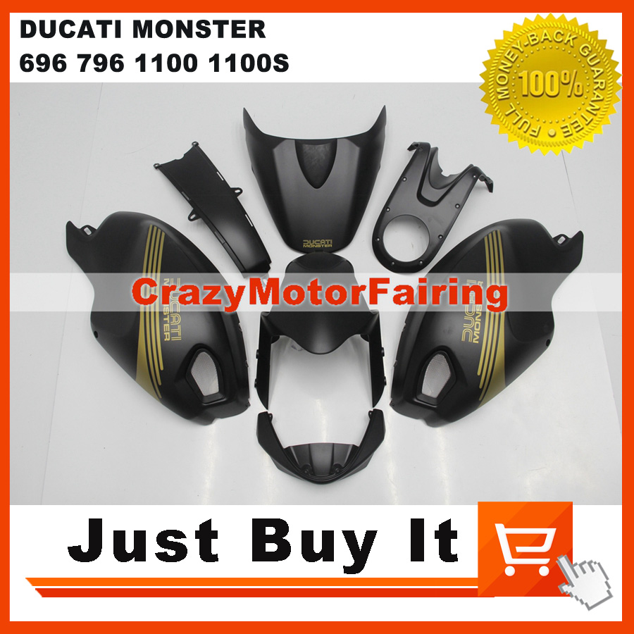Fit For DUCATI MONSTER 696 796 1100 1100S MATT BLACK Darmah Motorcycle FAIRING KIT Protective Cover ABS Injection Mold Cowling<br><br>Aliexpress