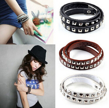 Buy Gothic PUNK Rock rivet Woven Fashion Jewelry Wrap multilayer Leather Braided Rope Wristband bracelets & bangles women/men for $1.05 in AliExpress store