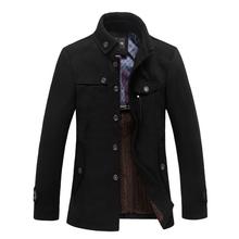 2016 New British Style Trench Coat Men Winter Men Long Coats Manteau Homme Slim Fit Black Mens Overcoat(China (Mainland))