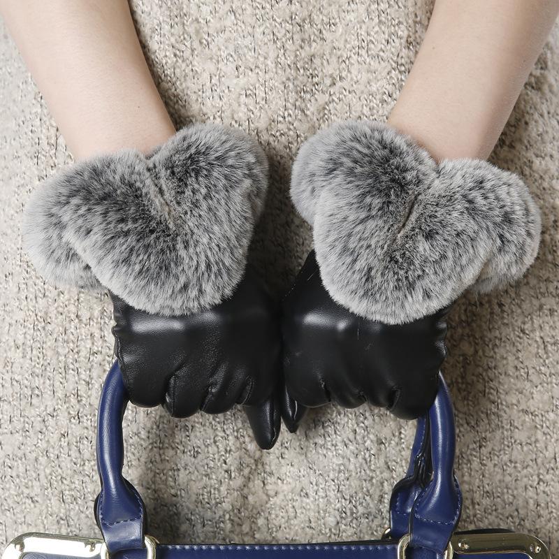 2015 New Winter Genuine Sheep Leather Rabbit Fur Gloves Natural Leather Fur Gloves 4 Color Winter Warm Women Men Fashion(China (Mainland))
