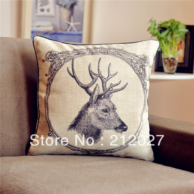 Free Shipping French Retro Vintage Country Deer Cushion Cotton Linen Pillow Sham 45CM X45CM pillowcase(China (Mainland))