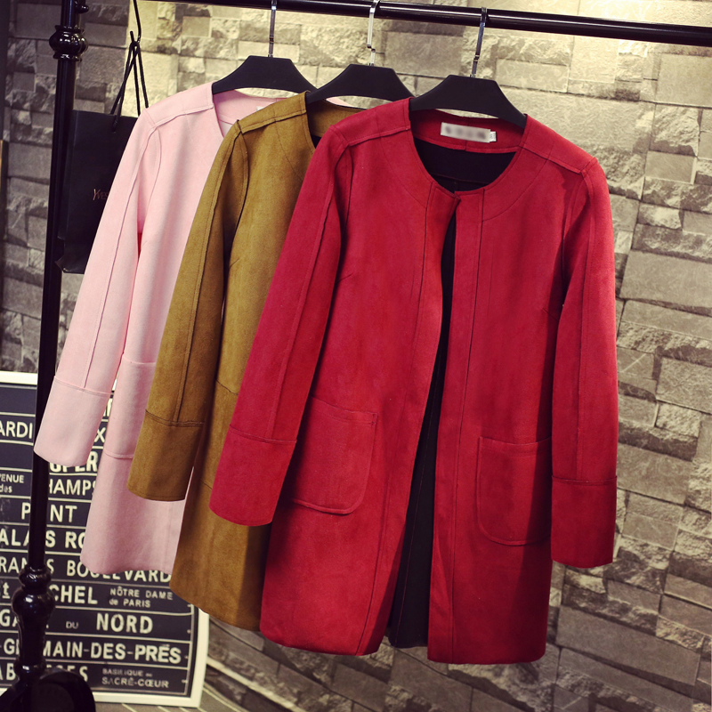 9 Colors New 2015 Casual Long Solid Suede Womens Trench Girls Frosted Open Long Sleeve Cardigan outerwears Tops Female ClothingОдежда и ак�е��уары<br><br><br>Aliexpress