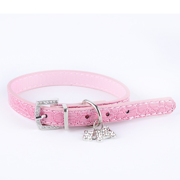 Pink Crystal Pendant Collar Puppy Cat Pet Buckle Candy Color Dogs Neck Strap Leather(China (Mainland))