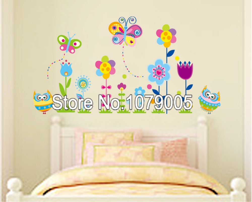 Cute butterfly dragonfly flowers removable wall decals for Butterfly wall mural stickers