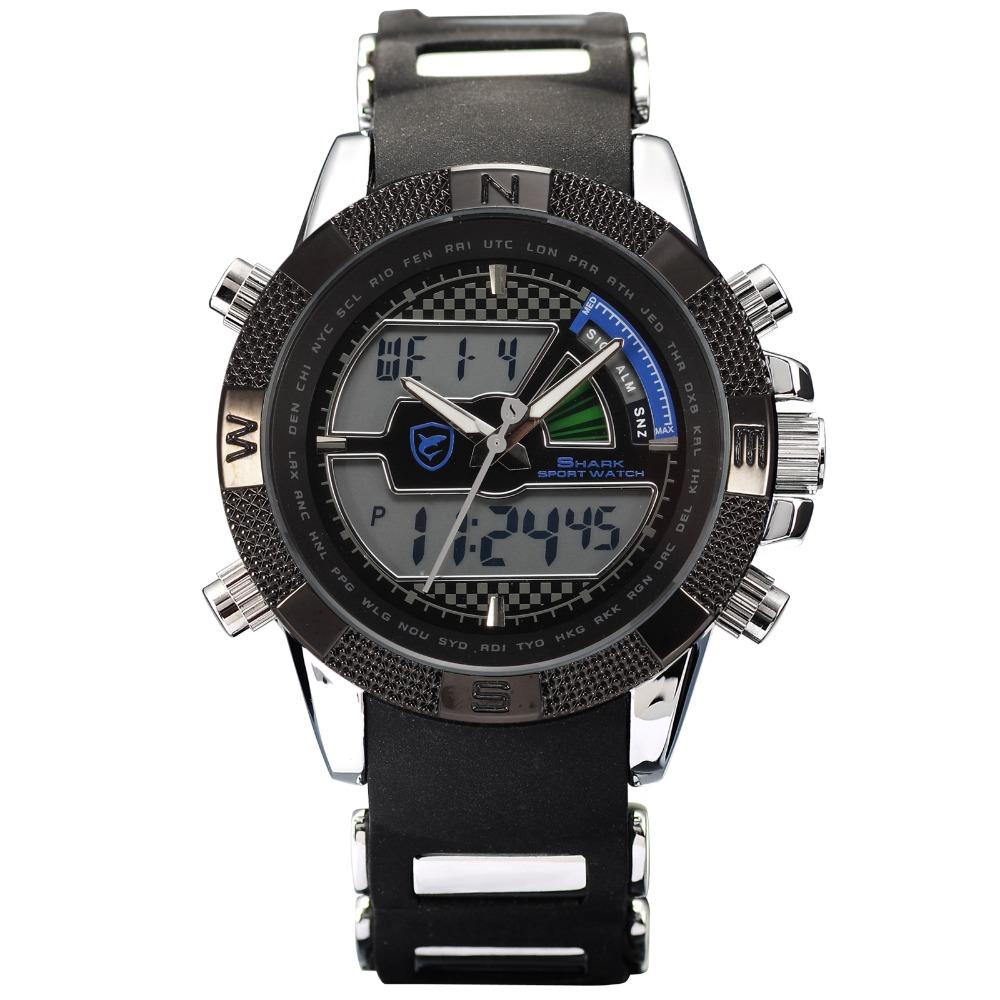 Гаджет  Digital SHARK Flight Hours Silicone Wristwatch For Men Strap Fun Chronograph Multifunction Quartz Outdoor Sports Watch / SH180 None Часы
