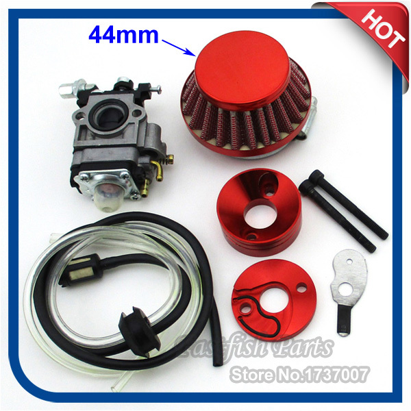 Carb Carburetor & 44mm Air Filter & Velocity Stack & Fuel Hose For 33cc 43cc 49cc Gas Scooter Skateboard Motorcycle Motocross(China (Mainland))