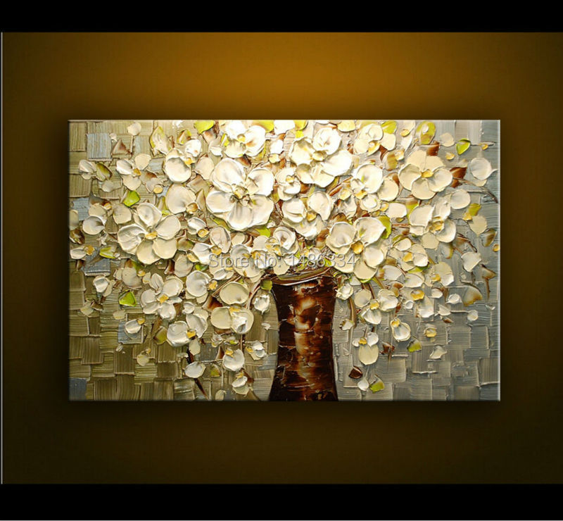 Handpainted canvas art painting palette knife thick paint blooming white flowers oil painting - Home decor ltd paint ...
