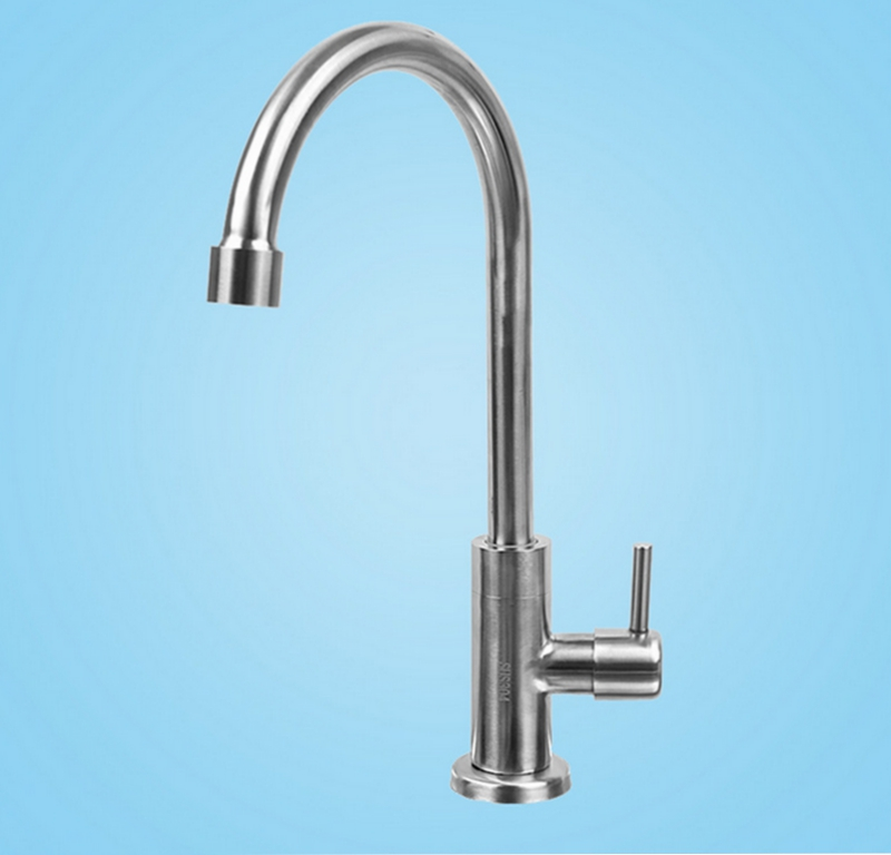 Lead Free SUS304 Brushed Nickel Kitchen Faucet Single Cold