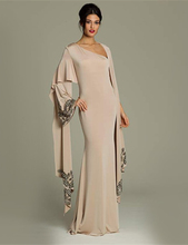 Fashion Muslim Evening Dresses One Shoulder Long Sleeves champagne Chiffon Islamic Dubai Style  Evening Gown  (China (Mainland))