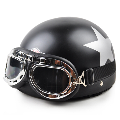 2013 New Vespa Open Face Half motorcycle helmet electric motorbike hard hats+Goggles+Visor Dumb black star Free Shipping