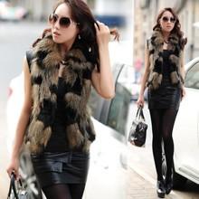 2016 New special sleeveless jacket waistcoat imitation fur vest square collar woman winter Office luxury Real Fur Coat L635(China (Mainland))