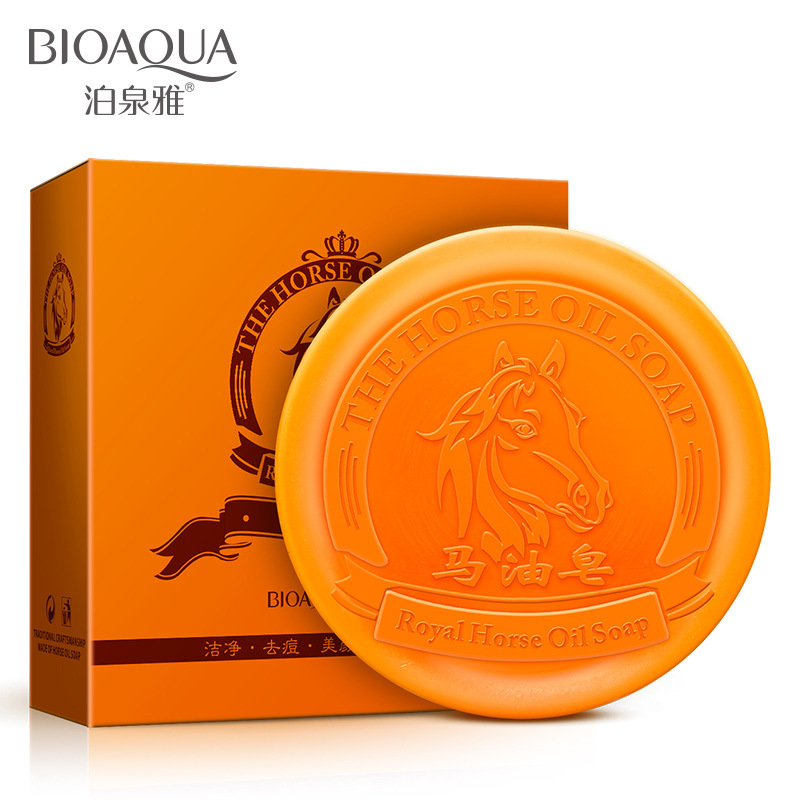 New high quality Horse oil cream clean Oil Acne Pay Moisturizing bath soap Whitening Body Nourish repair Wrinkle Toilet soap(China (Mainland))