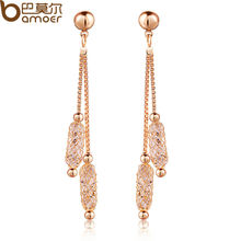 BAMOER Luxury 18k Champagne Gold Plated Drop Earrings Wire Zircon Crystal Female Christmas Gift Jewelry JSE020(China (Mainland))
