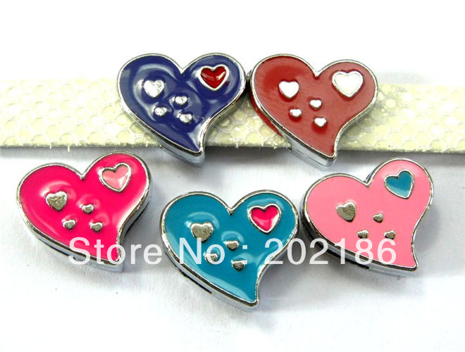 100pcs 8mm mix color mutil heart Slide Charms wristband/pet collar charms(China (Mainland))