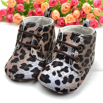 Free Shipping Winter Baby Short Boots 11cm-13cm Leopard Printing Children's Boots Anti-skid Toddlers Shoes 4409