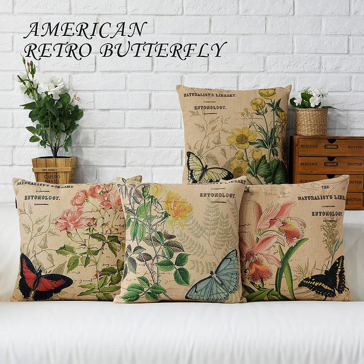 Free Shipping Linen Throw Pillow Hot Sale New Fashion Wedding Decor 45cm Boho Style Retro Butterfly Home Office Sofa Car Cushion