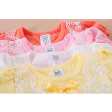 Summer Bow Lace Patchwork Newborn Baby Girls Dresses Cotton Toddler Girls Princess Dress