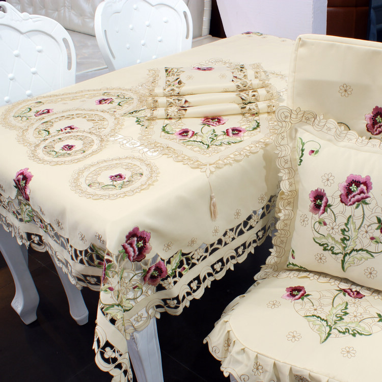 Furnishing step shake European garden table cloth tablecloth table table runner hollow table cloth cloth cushion covers(China (Mainland))