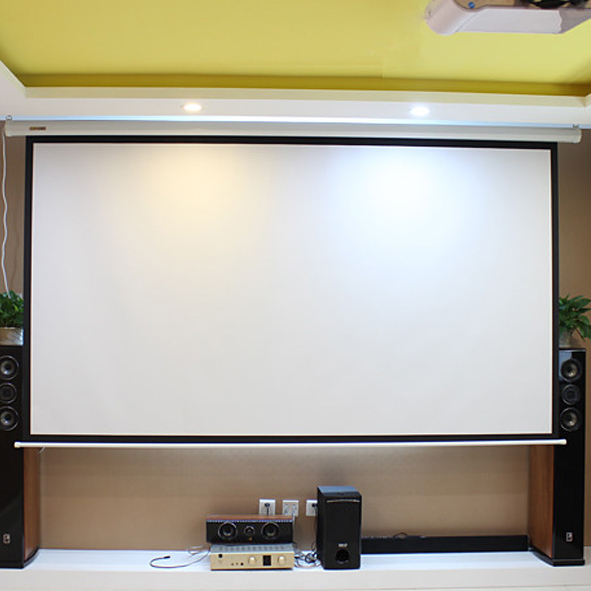 motorized projection screen Elite motorized projector screen from visualapex for home theater projectors.