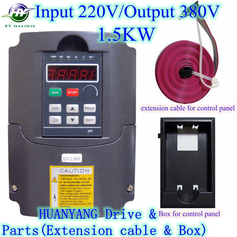 VFD 1.5KW 220V Input/ 380V Output Voltage Spindle Inverters HUANYANG AC Drive frequency converter &Parts(extension cable+box)(China (Mainland))