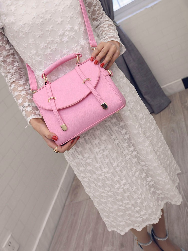 Two Belt Buckle Ornament Ladylike Handbag Japan And Korean Style Designer Small PU Bag Cheap Fashion Stylish Women Shoulder Bag