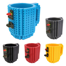 2017 Creative DIY Build-on Brick Mug Lego Style Puzzle Cup Building Blocks Water Bottle Frozen Coffee Cup Christmas toy Mug gift(China (Mainland))