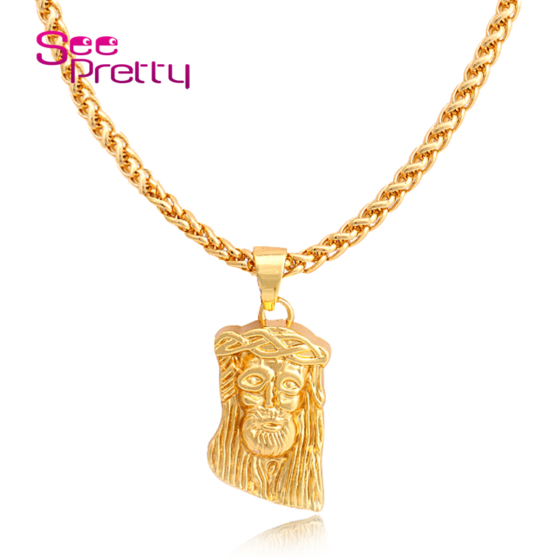 SeePretty Bling Big and Heavy 24K Gold Plated Jesus pendant Necklace Hip pop Jesus Pendant+75 Chain 2016 Woman&Men Jewelry F836(China (Mainland))