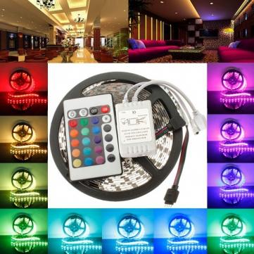 Free Shipping 3528 RGB led strip light 5M 300SMD led stripe 24keys SMD IR Remote Controller 5050 led stripe rgb<br><br>Aliexpress