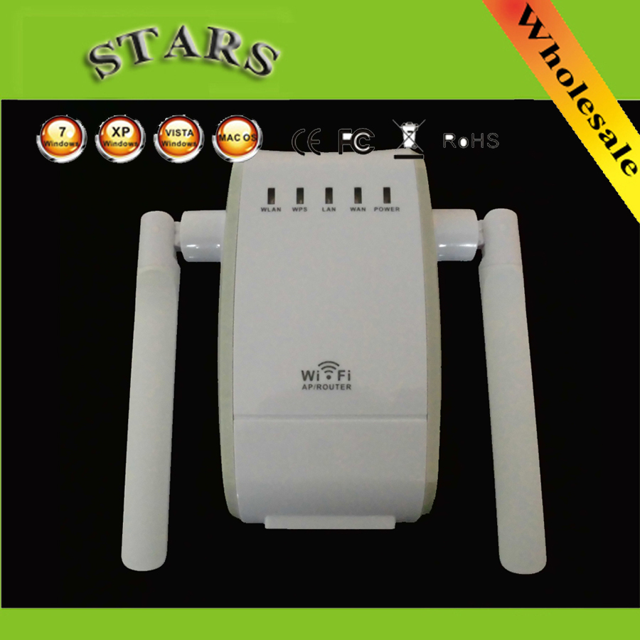 Wireless-N Wifi Repeater 802.11b/g/n Network Wifi Router Expander Double Antenna Extended Wi-fi Signal Repeaters 300Mbps EU Plug(China (Mainland))
